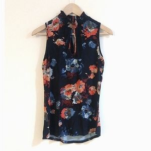 Daniel Rainn Blue Floral Keyhole High Neck Top